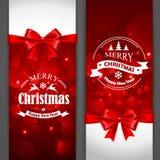 Cartoline di Natale con gli archi rossi Fotografie Stock