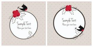 Cartoline di Natale con gli uccelli e le bacche Fotografia Stock Libera da Diritti