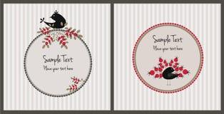 Cartoline di Natale con gli uccelli e le bacche Immagini Stock Libere da Diritti