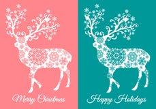 Cartoline di Natale con i cervi, insieme di vettore Fotografia Stock Libera da Diritti
