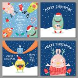 Cartoline di Natale con i mostri divertenti svegli royalty illustrazione gratis
