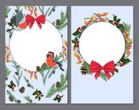 Cartoline di Natale con i ramoscelli degli aghi e degli uccelli illustrazione vettoriale