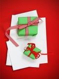 Cartoline di Natale con i regali di Natale Fotografia Stock