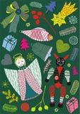 Cartoline di Natale con l'angelo, il pesce ed il piccolo diavolo, cartolina di saluto di vettore Fotografie Stock Libere da Diritti