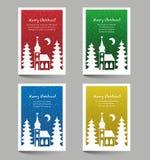 Cartoline di Natale con lo scarabocchio della chiesa Immagine Stock Libera da Diritti