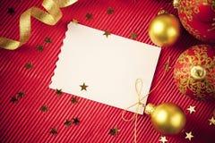 Cartoline di Natale/con lo spazio/il colore rosso e l'oro della copia Fotografia Stock Libera da Diritti