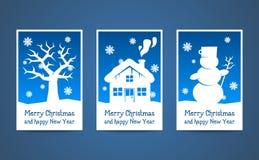 Cartoline di Natale del blu di vettore Immagine Stock Libera da Diritti