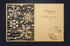 Cartoline di Natale del modello per il taglio del laser L'immagine del nuovo anno diretto della siluetta Illustrazione di vettore illustrazione vettoriale