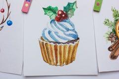 Cartoline di Natale dell'acquerello su un fondo bianco Fotografia Stock