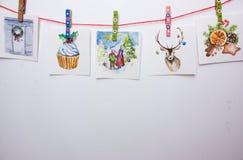 Cartoline di Natale dell'acquerello su un fondo bianco Immagine Stock Libera da Diritti