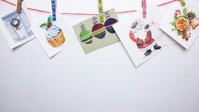 Cartoline di Natale dell'acquerello su un fondo bianco Immagini Stock