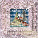 Cartoline di Natale dell'annata Immagini Stock