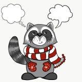 Cartoline di Natale dell'annata Procione sorridente sveglio in uno skarf bianco rosso della banda Illustrazione di vettore di vac royalty illustrazione gratis