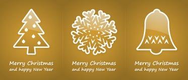 Cartoline di Natale dell'oro Immagini Stock Libere da Diritti