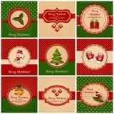 Cartoline di Natale. Illustrazione di vettore. Fotografie Stock