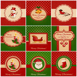 Cartoline di Natale. Illustrazione di vettore. Fotografia Stock