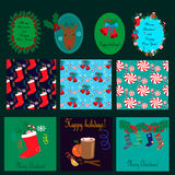 Cartoline di Natale, raccolta senza cuciture dei modelli Immagine Stock