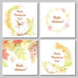 Cartoline disegnate a mano per il giorno di ringraziamento Verdure disegnate a mano, foglie Fotografia Stock Libera da Diritti