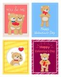 Cartoline felici di giorno di biglietti di S. Valentino con Teddy Bears Fotografia Stock Libera da Diritti