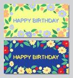 Cartoline fondo blu e giallo di buon compleanno, dei fiori, Fotografia Stock Libera da Diritti