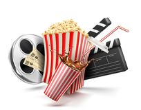 Carton bowl full of popcorn.  Royalty Free Stock Photos