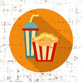Carton bowl full of popcorn and paper glass of drink, screen texture vector Stock Photos