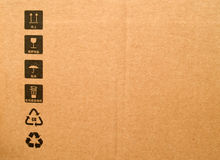 Carton box. Background with signs Royalty Free Stock Photos