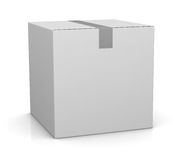 Carton box. One closed carton box in white color (3d render Royalty Free Stock Photo