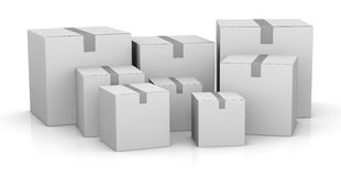 Carton box. Some carton boxes in different sizes (3d render Royalty Free Stock Photo
