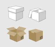 Carton box. Illustration in two colours Stock Photos