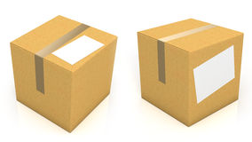 Carton box with blank paper for text Royalty Free Stock Photo