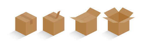 Carton box color with shadow Stock Images