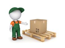 Carton box. 3d small person in workwear and carton box Stock Photography