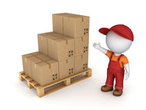 Carton box. 3d small person in workwear and carton box Stock Photos