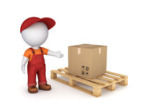 Carton box. 3d small person in workwear and carton box Stock Photo