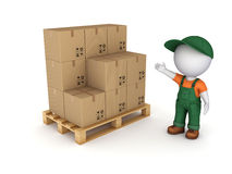 Carton box. 3d small person in workwear and carton box Royalty Free Stock Image