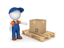 Carton box. 3d small person in workwear and carton box Royalty Free Stock Photo