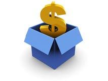 Carton box with dollar vector illustration