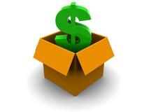 Carton box with dollar Stock Photo