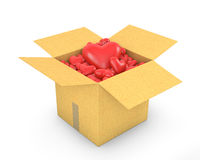 Carton box full of hearts Royalty Free Stock Photo
