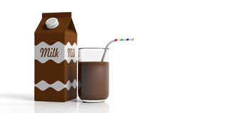 Carton box and glass of choco milk. 3d illustration Royalty Free Stock Photos