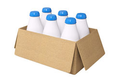 Carton box and milk bottles 3d rendering Stock Image