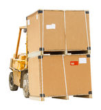 Carton box with pallet on forklift Royalty Free Stock Images