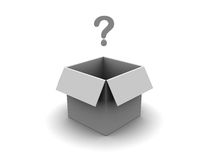 Carton box with question mark. 3d illustration of carton box with question symbol Royalty Free Stock Photos