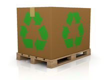 Carton box with recycle symbol Royalty Free Stock Image