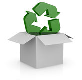 Carton box and recycling symbol. One white carton box with the recycling symbol that goes out from it (3d render Stock Images