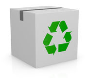 Carton box and recycling symbol. One white carton box with the recycling symbol printed on one side (3d render Stock Images