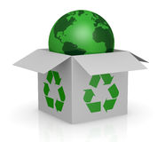 Carton box, recycling symbol and a earth globe. One white carton box with the recycling symbol printed on the sides and a earth globe that goes out from it (3d Royalty Free Stock Photos