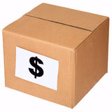 Carton box and sign of the dollar Royalty Free Stock Image