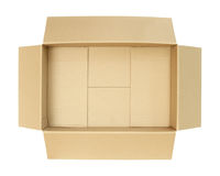 Carton box, top view. With clipping path isolated on white background Stock Photos